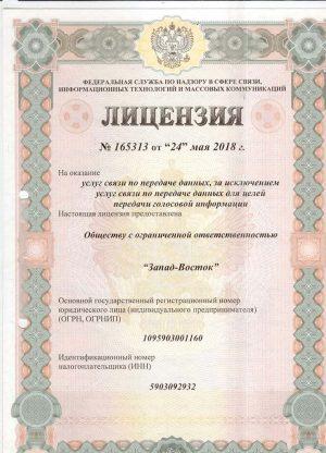 Лицензия На оказание услуг по передаче данных